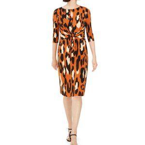 MSK Women Animal Print Dress 2X NEW! Orange Midi